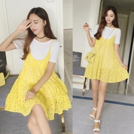 TE8868SYM Maternity cotton t-shirt with lace gallus dress