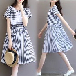 TE8869SYM Stripes chiffon maternity dress