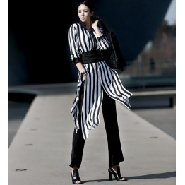TE1547GJWL Korean fashion stripes long sunscreen shirt