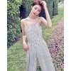 TE3050YZS Europe fashion stripes casual empire waist wide leg jumpsuit