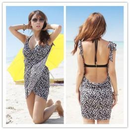 TE6427YZS Sexy backless leopard v neck beach gallus irregular tight hip dress