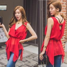 TE6442YZS Fashion slim waist temperament hollow out backless chiffon tops
