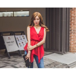 TE6442YZS Fashion slim waist temperament hollow out backless chiffon tops