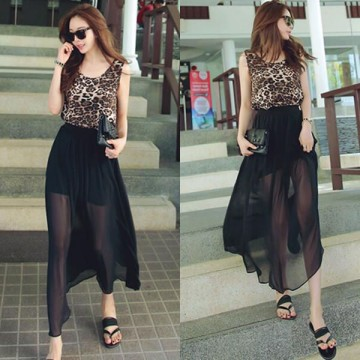TE6443YZS Europe fashion chiffon long sexy skirt with leopard vest