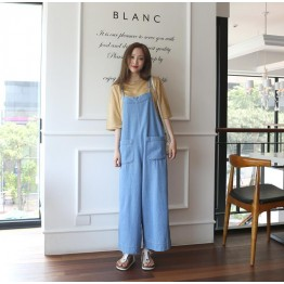 TE6445YZS Large size vintage loose slim wide leg suspender denim pants