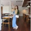 TE6445YZS Large size vintage loose slim wide leg suspender denim pants