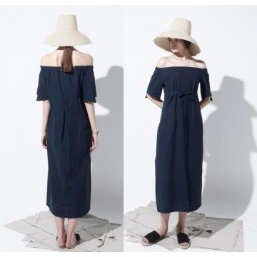 TE6447YZS Europe fashion boat neck off shoulder long dress