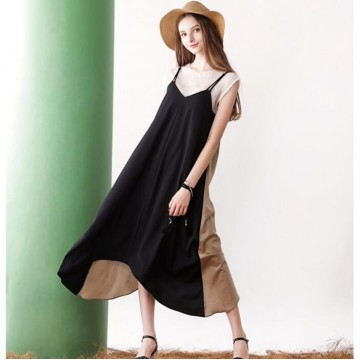 TE6449YZS Europe fashion color matching backless loose gallus dress