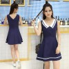 TE7012WMSS Navy style uniform fresh preppy fashion A-line dress