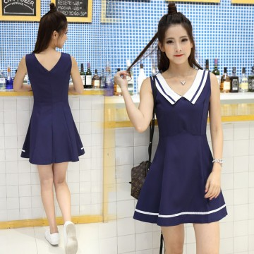 TE7012WMSS Navy style uniform fresh preppy fashion A-line dress