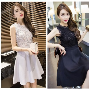 TE9288WMSS Korean fashion splicing slim sexy sleeveless dress