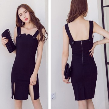 TE9311WMSS Slit slim waist tight hip suspender dress