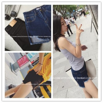 TE5147DDFS Korean fashion slim rough edge slit empire waist denim shorts