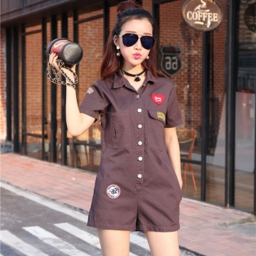 TE643YRYY Casual empire waist badge applique jumpsuit