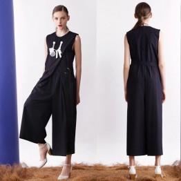 TE6450YZS Europe fashion sleeveless fake two piece empire waist wide leg jumpsuit