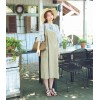 TE6451YZS Loose large size cotton ramie loose gallus dress
