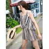 TE6452YZS Colorful stripes contract color geometry pattern scrawl fake two piece jumpsuit