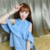 TE648YRYY Preppy style off shoulder stringy selvedge lotus leaf doll tops
