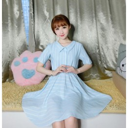 TE649YRYY Japanese fashion sweet two side wear lacing bowknot stripes dress