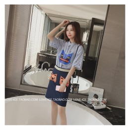 TE6558MN New style Little Devil stripes shirt with tight hip skirt