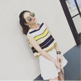 TE6685YRYY Loose stripes lacing back sleeveless tops with skirt