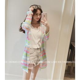 TE6742YRYY Loose slim fashion colorful stripes sunscreen coat