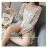 TE6742YRYY Loose slim fashion colorful stripes sunscreen coat