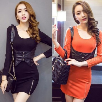 TE9196WMSS Autumn new style sexy club temperament tight hip dress