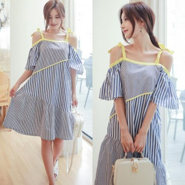 TE6453YZS Contact color boat neck backless off shoulder stripes irregular gallus dress