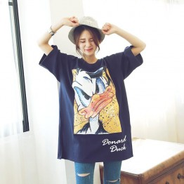 TE6456YZS New style loose cartoon print half sleeve t-shirt dress