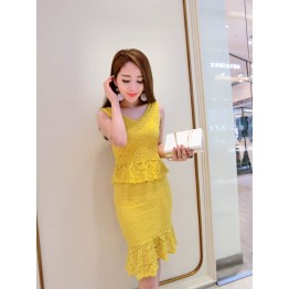 TE7155YES Short sleeve lace tops with fishtail skirt
