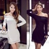 TE9124WMSS New style burn out hollow out sexy boat neck tight hip long sleeve dress