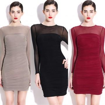 TE9150WMSS Sexy club slim mesh drape tight hip long sleeve dress