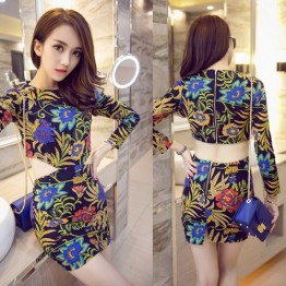 TE9159WMSS Europe fashion sexy slim long sleeve midriff print dress