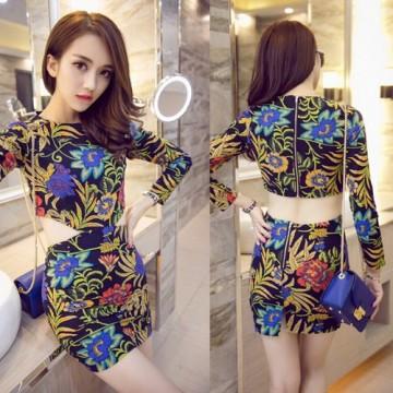 TE9159WMSS Europe fashion sexy slim long sleeve midriff print dress
