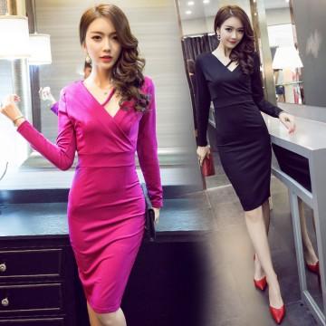 TE9190WMSS Europe fashion sexy slim v neck splicing long sleeve dress