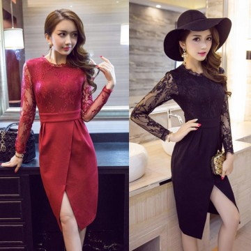 TE9221WMSS Europe fashion OL temperament lace long sleeve dress