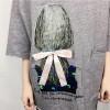 TE302DDNZ Plus size cute girl portrait silk bowknot print loose round neck fleece t-shirt