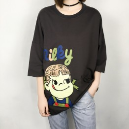 TE305DDNZ Plus size cute girl print loose round neck fleece t-shirt