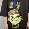 TE305DDNZ Plus size cute girl print loose round neck fleece t-shirt