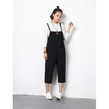 TE5001DDNZ Plus size casual suspender ninth harem trousers
