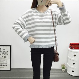 TE6640BYZJ Korean fashion joker stripes preppy style long sleeve t-shirt
