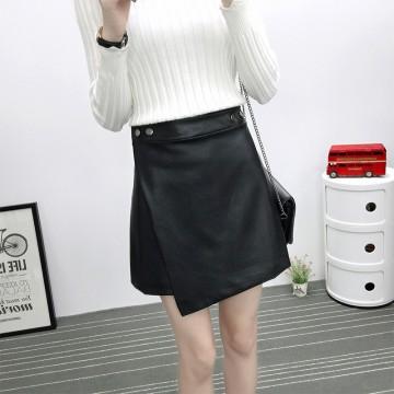 TE6646BYZJ joker pure color slim PU leather skirt