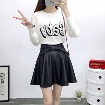 TE6648BYZJ joker pure color preppy style PU leather bubble skirt