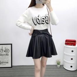TE6648BYZJ joker pure color preppy style PU leather bubble skirt