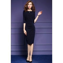 TE6675VIP Autumn new style pure color OL temperament tight hip dress