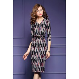 TE6676VIP Autumn new style v neck geometry print slim tight hip dress