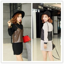 TE679YRYY Korean fashion leather splicing fake two piece long shirt