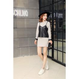 TE679YRYY Korean fashion leather splicing fake two piece long shirt