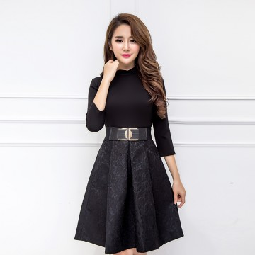 TE8270CVCV Autumn new style empire waist wide hem fashion dress